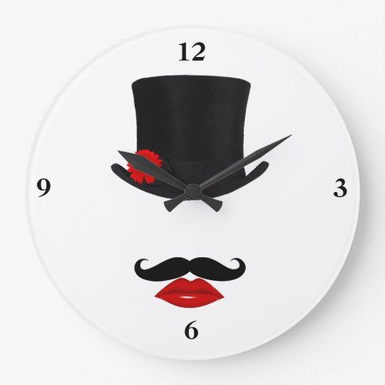 Mod Top Hat Lady With Mustache Large Clock