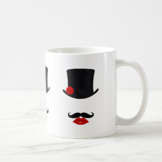Mod Top Hat Lady With Mustache Mugs