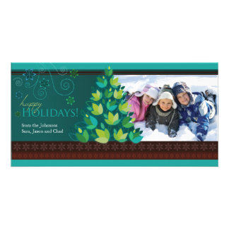 Mod Tree Holiday Photocard - Dark Teal Personalized Photo Card