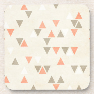 Mod Triangles Coral & Beige Gray Abstract Arrows Drink Coaster