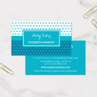 Mod Turquoise and White Polka Dots Babysitter Business Card