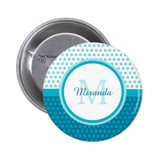 Mod Turquoise Blue Polka Dots Monogram With Name Pinback Button