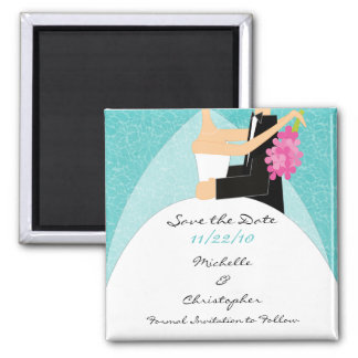 Mod turquoise Bride & Groom Save The Date Magnet