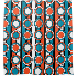 mod Turquoise orange black circle stripes pattern Shower Curtain Black And Curtains  Zazzle