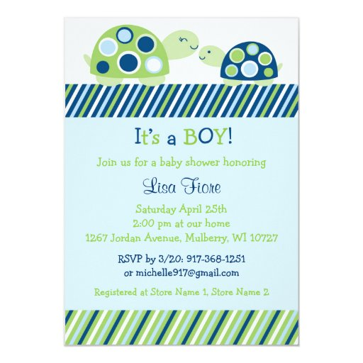 Mod Turtle Baby Shower Invitations