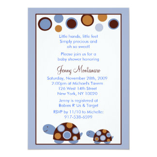 Mod Turtle Blue Brown Baby Shower Invitation