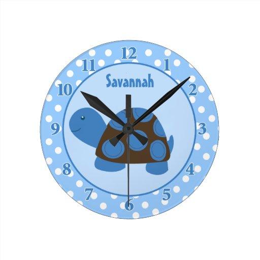 Mod Turtle (Blue) Wall Clock Add a Name