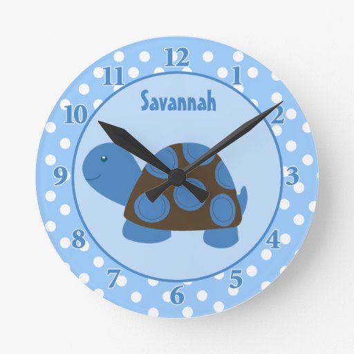 Mod Turtle (Blue) Wall Clock Add a Name
