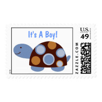 Mod Turtle Postage Stamp-It's A Boy!