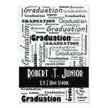 "mod typography black white Graduation Invitation 5"" X 7"" Invitation Card"