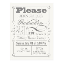 Mod Typography Graduation party  Iinvitations Postcard
