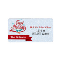 Mod Typography Happy Holidays Snowflakes Label