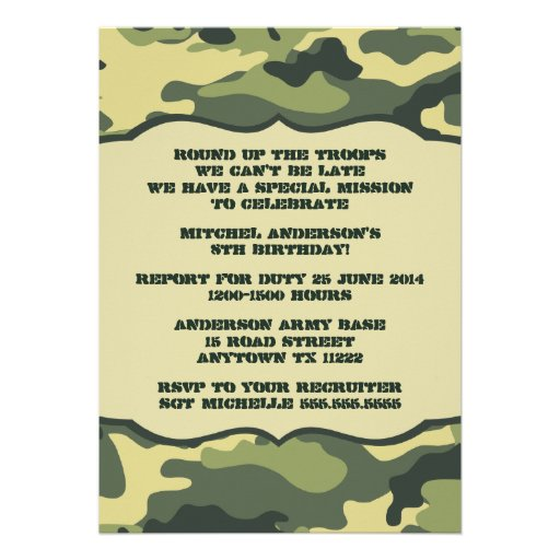 Mod updated army camo birthday party invitation 5quot x 7 for Camouflage party invitation template