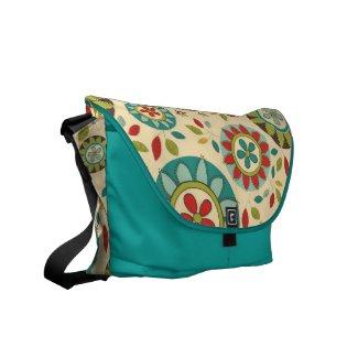 Mod Vintage Retro Pop Floral Messenger Bag rickshawmessengerbag