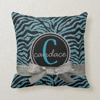 Mod Wild Zebra Black and Blue Monogram Throw Pillows