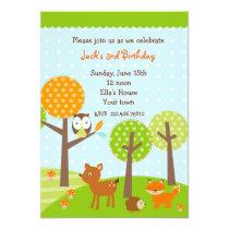 Mod woodland Owl BIrthday Party Invitations
