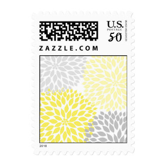 MOD Yellow and Gray Dahlia Bridal or Baby Shower Postage