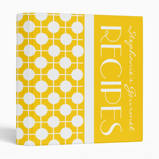 Mod Yellow and White Polka Dot Recipe Binder