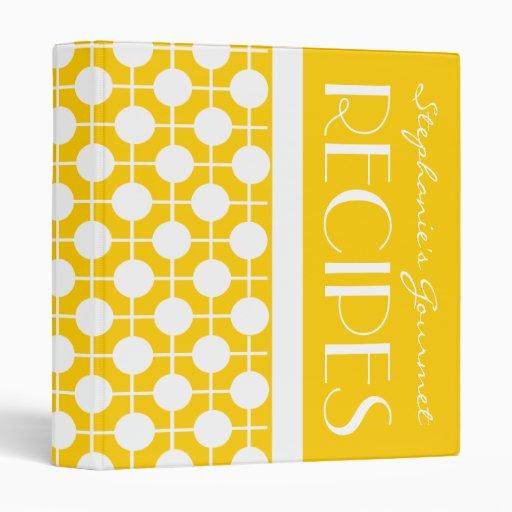 Mod Yellow and White Polka Dot Recipe Binder