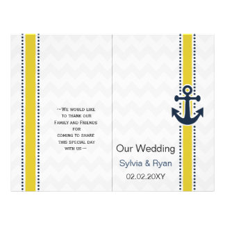 Mod yellow chevron anchor nautical Wedding program