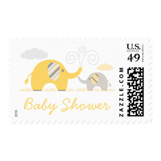 Mod Yellow Gray Elephant Baby Shower Postage