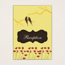mod yellow lovebirds Reception   Cards