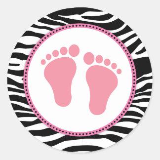 Mod Zebra Pink Baby Shower Favor Stickers