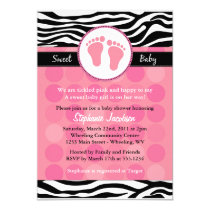 "Mod Zebra Print Baby Shower Invitations 5"" X 7"" Invitation Card"