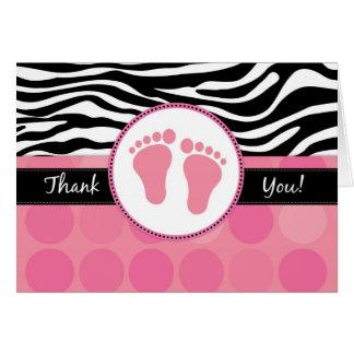 Mod Zebra Print Folded Baby Shower Thank You Cards