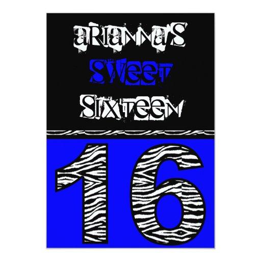 Mod Zebra Print Sweet Sixteen [blue] Custom Announcement