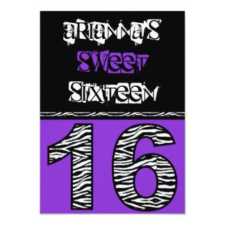 Mod Zebra Print Sweet Sixteen [purple] Card