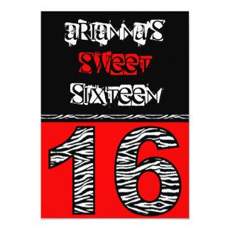 Mod Zebra Print Sweet Sixteen [red] Card