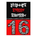 Mod Zebra Print Sweet Sixteen [red] Personalized Invites