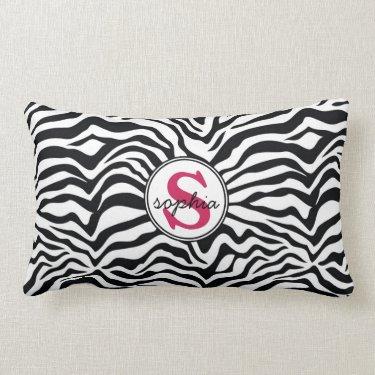 Mod Zebra Print with Girly Pink Monogram Pillows