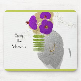Mod-Zen-Flower's-Art(c) Template_Lime & Silver Mouse Pad