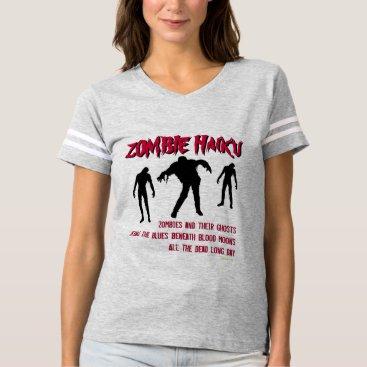 Halloween Themed Mod Zombie Haiku Varsity Style T-Shirt