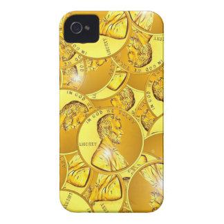 moda accesoria 3D de Bling de la moneda de oro del iPhone 4 Carcasas