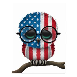 Moda americana Nerdy adaptable del búho del bebé Tarjetas Postales