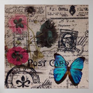 Moda artística de París de la flor de la amapola d Posters