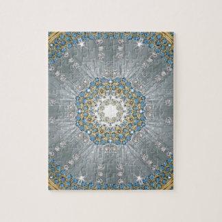 moda azul de plata femenina de la impresión del puzzle