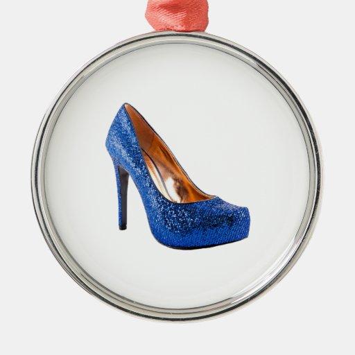 Moda azul del zapato del tacón alto de la chispa ornatos