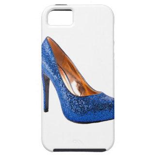 Moda azul del zapato del tacón alto de la chispa funda para iPhone SE/5/5s