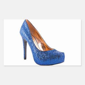 Moda azul del zapato del tacón alto de la chispa rectangular pegatina