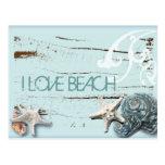 Moda azul elegante romántica del chica de la playa postales