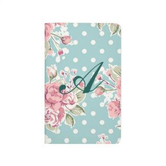 Moda azul, lamentable, blanco del lunar, rosa cuaderno
