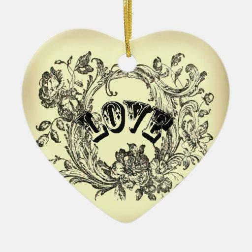Moda beige de París del amor del tatuaje del Adorno Navideño De Cerámica En Forma De Corazón
