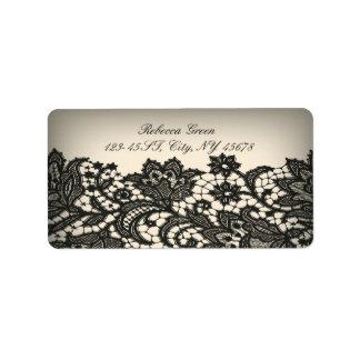 moda beige de París del cordón negro del ntage Etiqueta De Dirección
