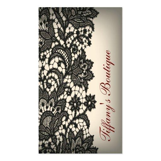 moda beige de París del cordón negro del ntage Tarjeta De Visita