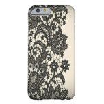 Moda beige de París del cordón negro del vintage Funda De iPhone 6 Barely There