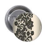 Moda beige de París del cordón negro del vintage Pins